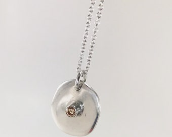 Champagne CZ  on Sterling Silver Pendant Disc with sterling silver chain