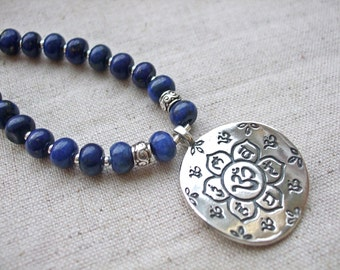 Sterling Silver Om Chakra Lotus Necklace with Lapis Lazuli