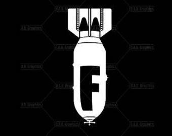 The F-Bomb a white vinyl decal