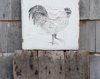 Vintage country Rooster farm sign on distressed salvaged barn wood hand painted READY 2 SHIP