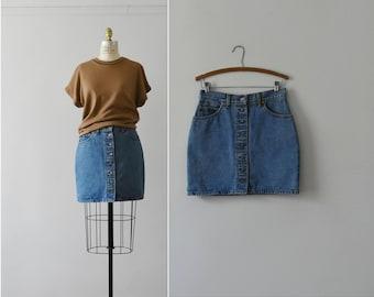 levis denim skirt / vintage button front jean skirt / M - L