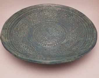 Large Porcelain Mix Blue Serving Bowl