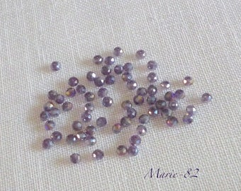 90 faceted glass beads - Amethyst 3 X 2 mm