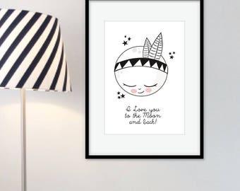 "Art print poster Indian Moon ""Monolove"""
