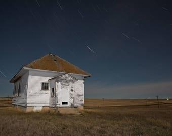 Country School, Old Schoolhouse, Vintage Schoolhouse, Abandoned School, Rural Landscape, Hilltop, Rural School, Night Sky