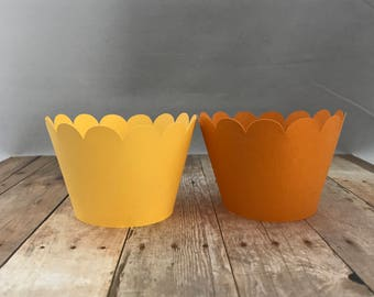 You Are My Sunshine Cupcake Wrappers, Set of 12 in Yellow and Orange