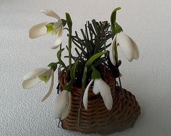 """Set of hairpins """"Snowdrops""""- clay flowers - floral jewelry - floral accessories"""