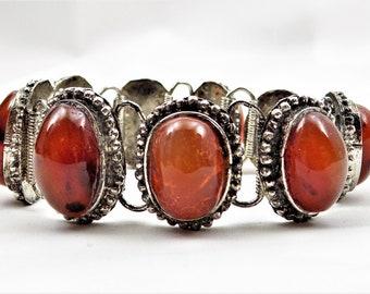 Carnelian Bracelet, Oval Carnelian Cabochons, Silver Plate Metal, Hook Closure, Vintage Bracelet