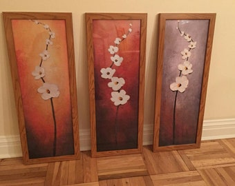 3 Piece Abstract Floral Canvas (No Frame)