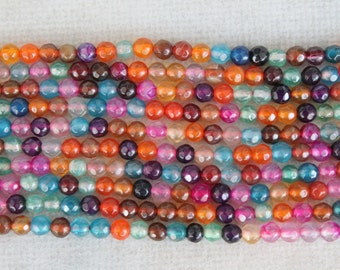 Multicolor Agate Faceted Round Beads 4mm - 14 Inch Strand
