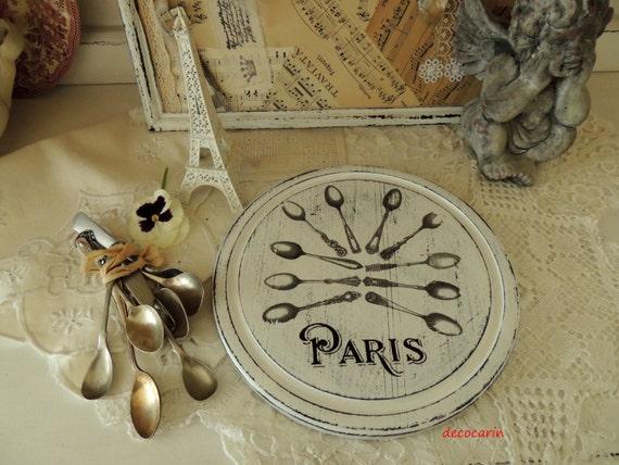 Paris Kitchen Decor | Shabby Cutting Board Wooden Round Cutting Board Shabby Chic