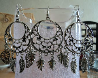 Earrings leaves or feathers - silver - 7.5 cm