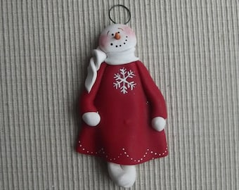 Snow girl 2 ~ hand sculpted polymer clay ornament