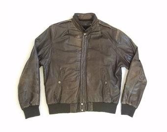Vintage Mens Size 40 Small Medium U2 Wear Me Out Distressed Leather Jacket Brown Biker Bomber Flight Coat Aviator Moto Motorcycle Rider