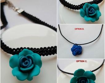 Handmade polymer clay pendants - blue roses
