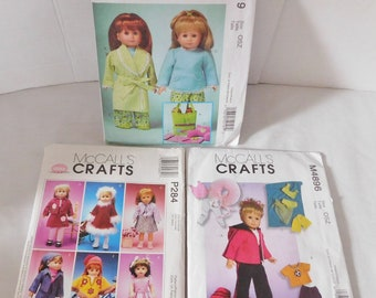 3 McCalls Craft Pattern 18 inch Doll clothes ALL UNCUT