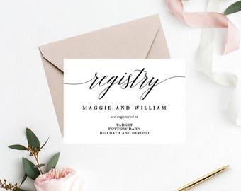 Registry Cards Editable Template - Printable PDF - Modern Script - Wedding Registry Cards #MSC
