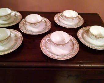 6 zeh scherzer z &s co, fine bavarian bone china tea cup saucer and 7 /8 inch plates