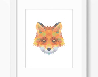 Fox Print, Fox Art, Fox Wall Art, Geometric Fox Print, Fox Print, Origami Fox Print, Fox Face, Geometric Fox Art, Triangle Fox Art, Fox Art