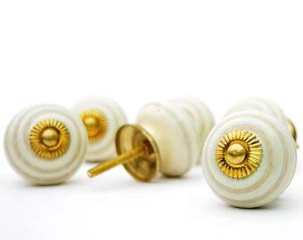 Set of 12 Handmade Ceramic Hypno Circle Round Golden Fitting Kitchen Cabinet Hardware Knobs Kids Dresser Knobs