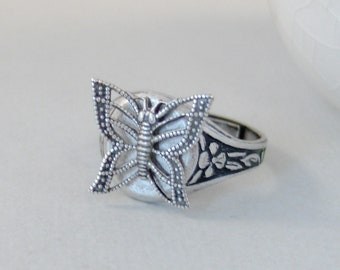 Sweet Butterfly,Ring,Silver,Butterfly,Butterfly Jewelry,Spoon Ring,Antique Ring,Silver Ring,Wrapped,Adjustable,Bridesmai valleygirldesigns