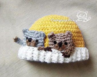 Beanie with Applique Bears, New Born - Teen, INSTANT DOWNLOAD Crochet Pattern