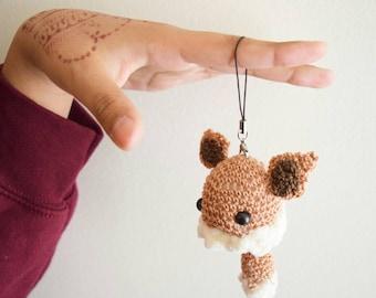 Cute Kawaii Crochet Eevee Phone Charm Eeveelutions Pokemon inspired Plush Doll