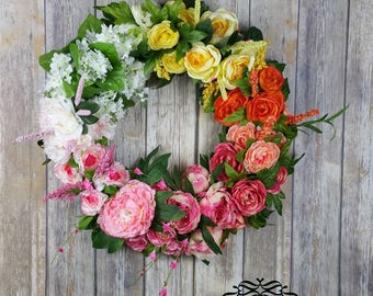 Spring Summer Floral Wreath for Door, Front Door Wreath, Flowers Wreath, Floral Door Wreath, Grapevine Flowers Wreath