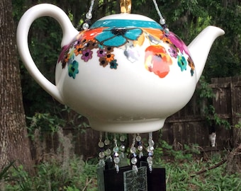 Bright Floral Teapot Upcycled into a Windchime, with Streaky Purple Stained Glass Chimes