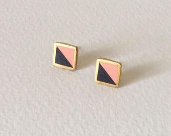 Porcelain square stud earrings-peach, black, 24k gold- geometric studs,porcelain earrings, minimalist studs, porcelain jewelry, gift for her