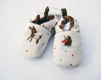 SALE Small Classic Hedgehog and Deer  / All Fabric Soft Sole Baby Shoes / Ready to Ship / Babies
