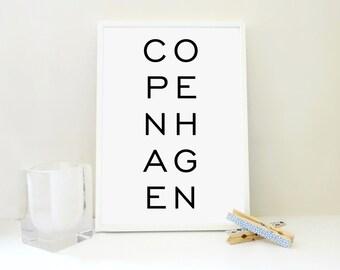 Copenhagen Printable Print, Copenhagen Art Print, Minimal Print, Scandinavian Poster, Travel Print, Travel Gift, Denmark Poster, JPG & PDF