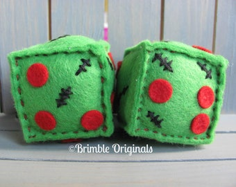 Retro Furry Dice / Zombie Gifts / Car Accessories / Handmade Gifts / Gifts for Him / Gifts for Boys / Zombie /