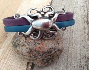 Leather Octopus Bracelet - Beach Bracelet - Octopus Jewelry - Kraken Bracelet -Tentacle Bracelet - Sealife Bracelet