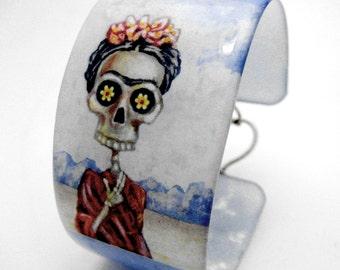 Beautiful blue Frida in Red Resin art cuff bangle bracelet - featuring original sugar skull artwork by FloweroftheDead