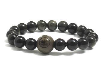 Obsidian Bracelet, Men's Inspirational Jewelry, Wellness Men Beaded Bracelet Prayer Meditation Worry Beads Bracelet, Inspiring Gift for Him