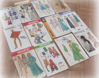 Vintage Sewing Patterns - Lot of 12