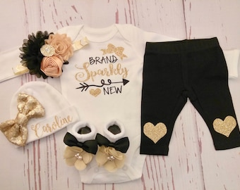 baby girl, coming home outfit, newborn, baby, girl clothes, take home outfit, sparkling new, outfit, newborn outfit, shirt, name, brand new