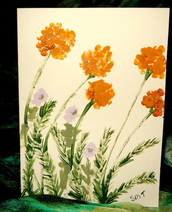 Original Hand Painted Blank Note/Greeting Card, Acrylic Painting, YARROW, Folk Art Keepsake, Signed Artwork by Stacey Torres