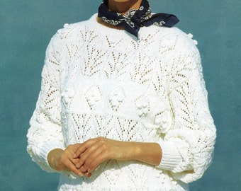 Lady's Knitting Pattern Cotton Lace Sweater With Bobbles in DK