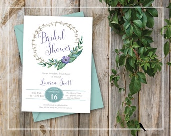 Printable Bridal Shower Invitation - Green and Lilac Purple Flower Wreath Bridal Shower Invitation - Sweet Garden Party Invitation