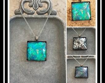 Memorial Ash Necklace/ Memorial Ash Jewelry Pet Memorial Jewelry/ Cremation Necklace/More than 80 color options/Square Necklace