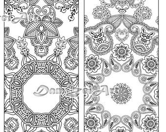 Flower Mandalas Coloring Bookmarks, Bookmark coloring, printable bookmarks, Coloring Adults Bookmark, Digital Download