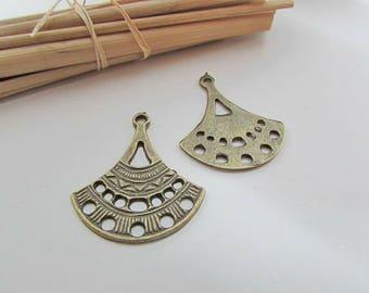 2 connector earring 3.5 cm long bronze - 88.53