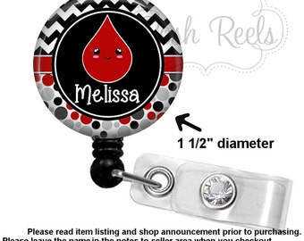 Phlebotomist Badge Holder - Personalized Phlebotomist Badge Reel - Choice of Badge Reel, Stethoscope ID Tag, Carabiner or Lanyard  - 1161