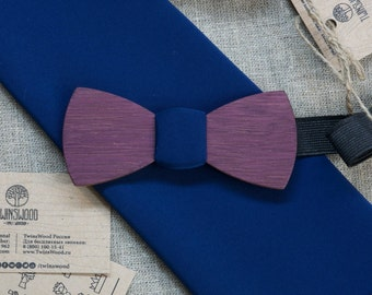 Amaranth Wood bowtie  Retro + color pocket square Personal engraving wooden bow ties. Men Accessories. 100% hand made. Best xmas /bday gift.