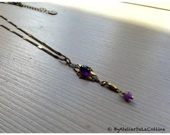 Art deco necklace with amethyst cabochon, Isolde collection
