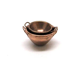 Dollhouse Mixing Bowls, Copper, Miniature, Kitchen, Baking, Miniature Cooking, Cooking, Mini, Metal, Miniaturist, Hobby, 1:12 Scale