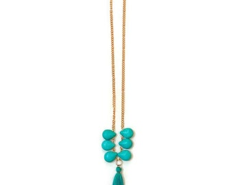 Turquoise Gemstone Necklace - Turquoise Tassel Necklace - Long Turquoise Necklace - Long Tassel Necklace - Long Gemstone Necklace