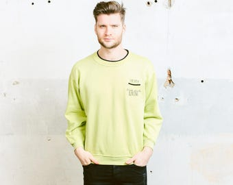 80s Mens Sweatshirt . Vintage Green Oldschool Skater Sports Sweater Minimalist Sweater Crew Neck Sweatshirt . size Medium M